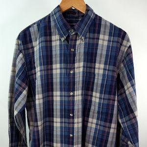 VTG 80s Eddie Bauer L/S Plaid Marin Poplin Shirt L